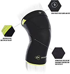 DonJoy Performance ANAFORM 2mm Closed Patella Knee Brace Sleeve, Black/Slime Green, Small