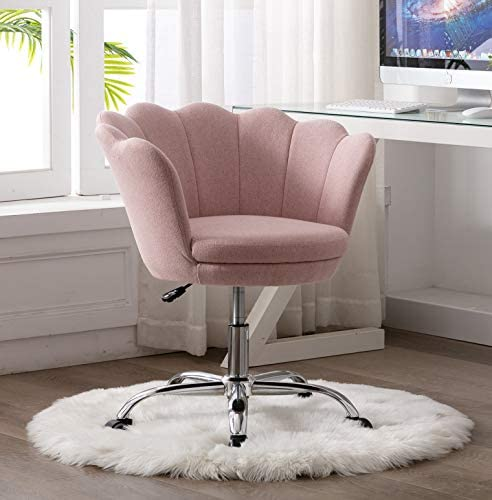 Rhomtree Modern Fabric Upholstered Swivel Desk Chair Accent Adjust Home Office Chair Task Leisure Chair