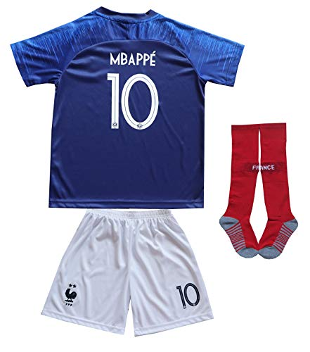 2018 France Kylian MBAPPE #10 Home Blue Kids Soccer Football Jersey Socks Shorts Youth Sizes (Home (#10 MBAPPE), 6-7 Years)