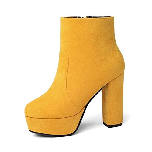 Seite Wilde Reißverschluss Damen High HCBYJ Damenschuhe Wasserdichte Mode Heel warme Winter Plateau Stiefel Leder Heels High qvww6PBx