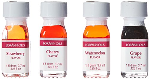 LorAnn Super Strength Fruity Flavors in 1 dram bottles (.0125 fl oz - 3.7ml), Watermelon, Grape, Cherry, and Strawberry