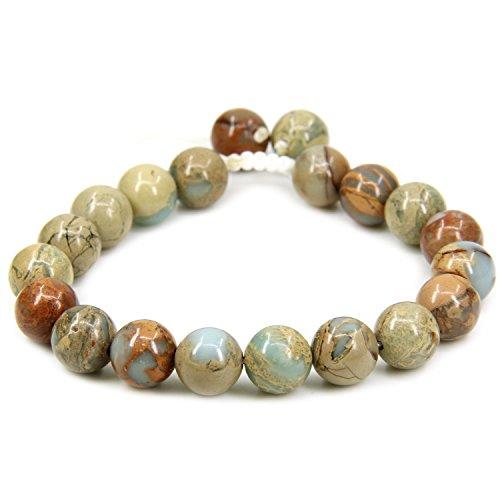 Amandastone Natural Serpentine Gemstone 10mm Round Beads Adjustable Braided Macrame Tassels Chakra Reiki Bracelets 7-9 inch Unisex