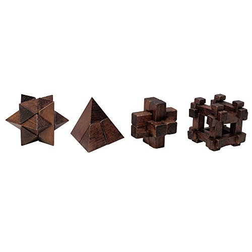 Brain Teasers Set (Bits and Pieces - Mini Wood Brain Teaser Set of Four-Classic Designed Dark Wood Stain - Wooden Brainteaser Puzzles & Fun Gifts)