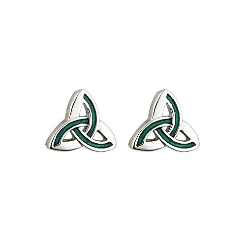 (Tara Irish Jewelry Earrings for Women Trinity Knot Earrings Rhodium Plating & Green Enamel Made in)