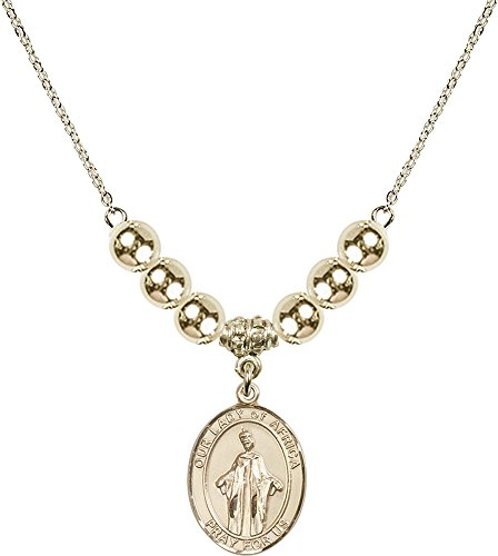 Gold Plated Necklace with 6mm Gold Filled Beads & Our Lady of Africa Charm. by F A Dumont