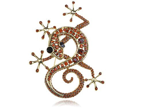 Red Ruby Crystal Rhinestone Gold Tone Gecko Lizard Reptile Breastpin Brooch for Women