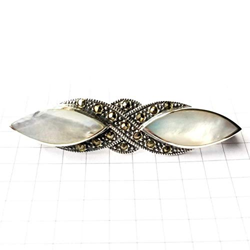 Mother of Pearl Stones PIN/Brooch with Marcasite Stones .925 Sterling Silver ВК-36