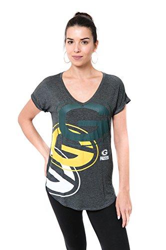 (Icer Brands NFL Green Bay Packers Women's T-Shirt V-Neck Soft Modal Tee Shirt, X-Large, Gray)