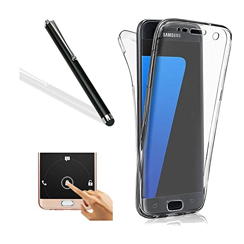 Galaxy S6 Edge Plus Case,Samsung S6 Edge Plus TPU Cover,Leeook Ultra Thin Transparent Clear Design Shockproof Cover Soft TPU Silicone Slim Fit Scratch Resistant Front and Back Full Body 360 Degree Protection Gel Bumper Case for Samsung Galaxy S6 Edge Plus + 1 x Free Black Stylus