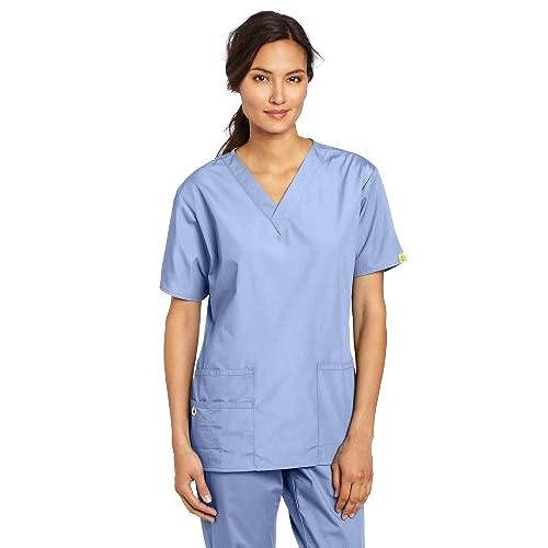 WonderWink Womenu0027s Scrubs Bravo 5 Pocket V Neck Top, Ceil Blue, X Large