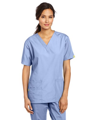 WonderWink Women's Scrubs Bravo 5 Pocket V-Neck Top, Ceil Blue, Small