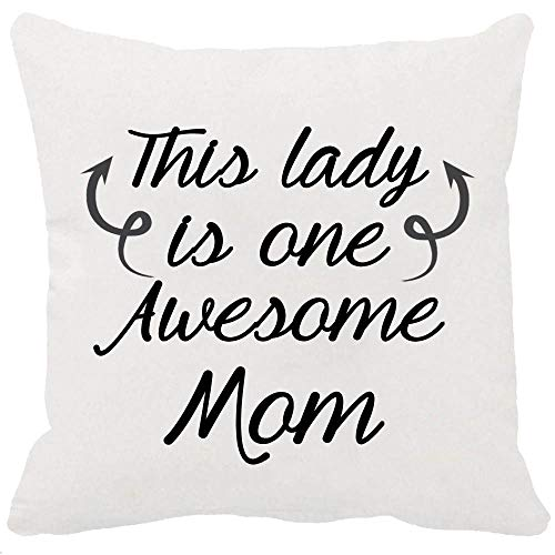 CHERRY.1 Best Gift Idea for Mother's Day Birthday Gifts Warm Sayings This Lady is One Awesome Mom New Home Decorative Soft Both Sided Printing Cotton Throw Cushion Cover Pillow Case Square 18 Inches