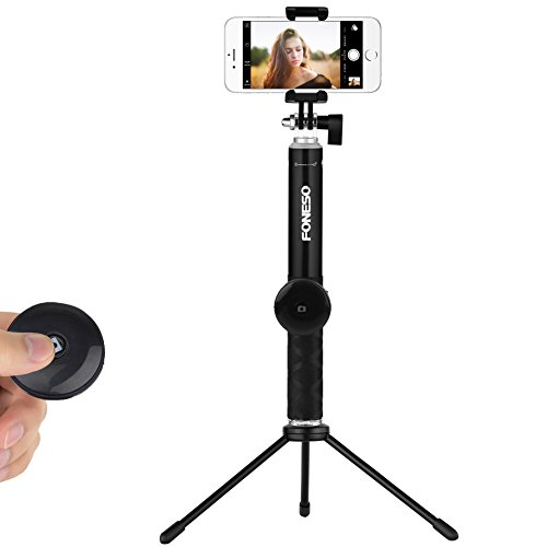 Selfie Stick, Foneso Extendable Monopod with Bluetooth Remote and Tripod Stand for iPhone 7 6S Plus 6S 6 (Tripod For Iphone 6)
