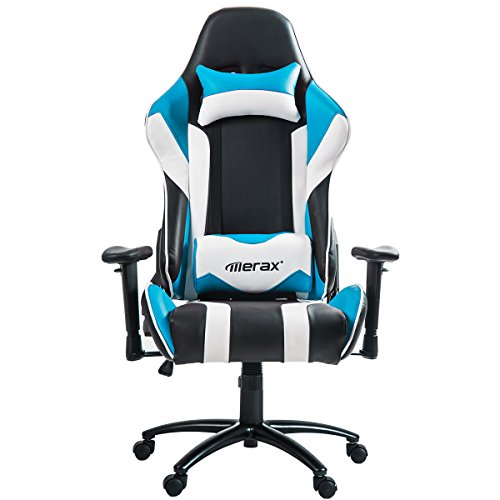 Merax High Back Racing Style Gaming Chair Metal Frame with Lumbar Support and Headrest (Blue) by Merax