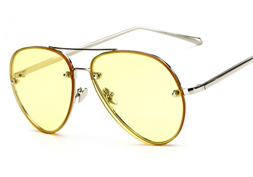 Freckles Mark Oversize Gold Metal Mirror Clear Vintage Aviator Sunglasses 62mm (Yellow, - Mirrored Aviators Yellow