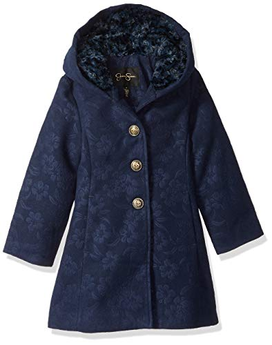 Jessica Simpson Girls' Little Dress Coat Jacket with Cozy Collar, Embossed Navy, 6 ()