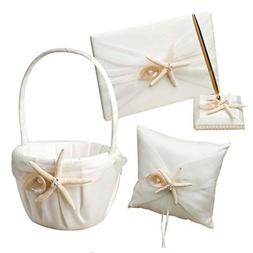 - 4 Pcs/lot Beach Theme Starfish Seashell Design Wedding Ring Pillow +Girls Flower Basket+Guest Book +Pen Set for Romantic Wedding Ceremony Party Favor Sets, Wedding Party Props Decoration Supplies