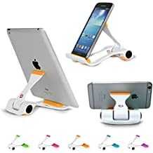 """Tablet and Cell Phone Stand Holder, Multi-Angle, Durable, Anti-Slip, Landscape and Portrait, made for: Apple iPad, iPhone, Kindle, Samsung Galaxy Tab and Any Devices from 4""""-12"""" by SIME-ON - Orange"""