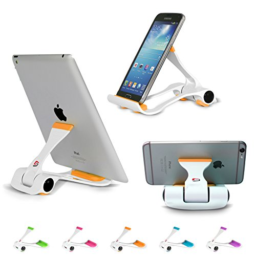SIME-ON: Phone and Tablet Stand, Desk Holder Compatible with iPhone, iPad (Mini), Samsung Devices, Universal, Portable, Adjustable Multi-Angle - Orange