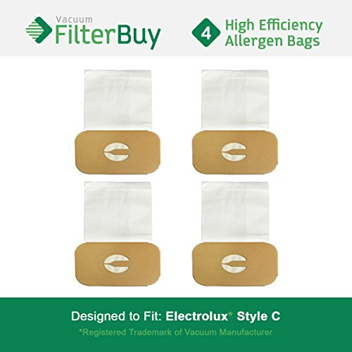 FilterBuy Electrolux Style C Bags. Designed to fit Electrolux Canister Vacuum Cleaners. Pack of 4.