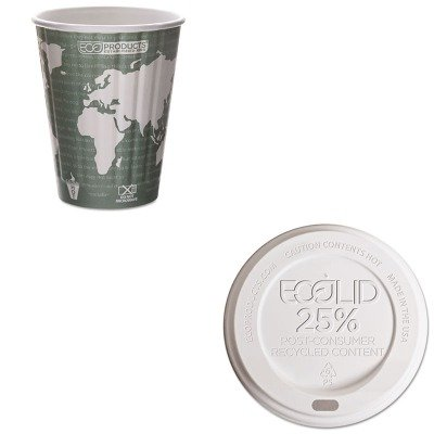 KITECOEPBNHC12WDECOEPHL16WR - Value Kit - ECO-PRODUCTS,INC. World Art Insulated Compostable Hot Cups (ECOEPBNHC12WD) and ECO-PRODUCTS,INC. Eco-Lid 25% Recycled Content Hot Cup Lid (ECOEPHL16WR)