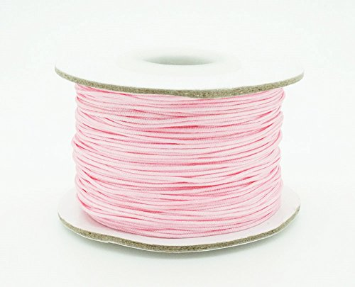PINK 0.8mm Chinese Knot Nylon Braided Cord Shamballa Macrame Beading Kumihimo String (50yards Spool)