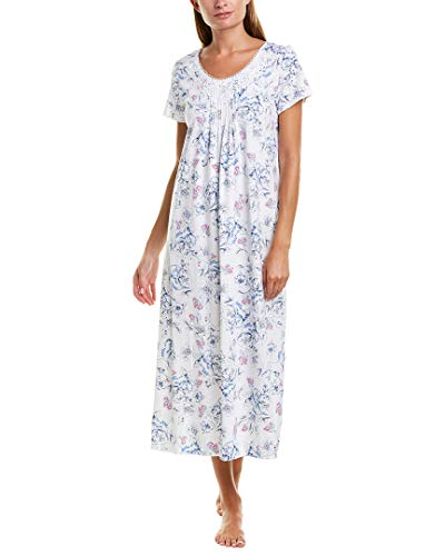 Carole Hochman Cotton Nightgown - Carole Hochman Women's Short Sleeve Long Gown Navy Sketch Floral Small