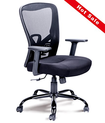 Mid-Back Mesh Chair Swivel Office Computer Chair with Adjustable Armrests Comfortable Seating(Black) by An Qing Yi Sheng