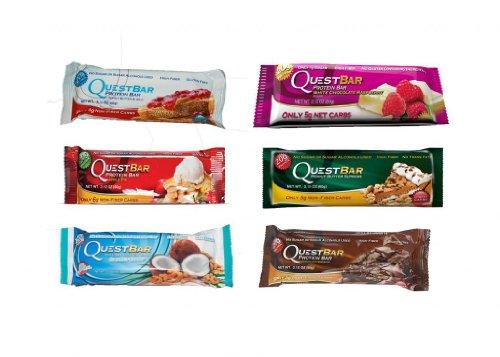 Quête Favoris Sampler: Peanut Butter & Jelly, tarte aux pommes, noix de coco noix de cajou, chocolat blanc framboise, beurre d'arachide suprême, Chocolate Brownie, Bars 12 de protéines