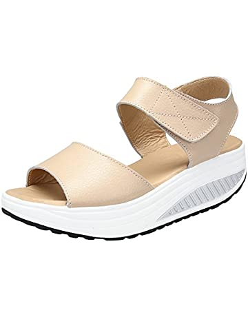 e584d166e4cf DAFENP Women's Leather Comfort Breathable Peep Toe Walking Wedges Sandals  Platform Heeled Shoes (4 UK