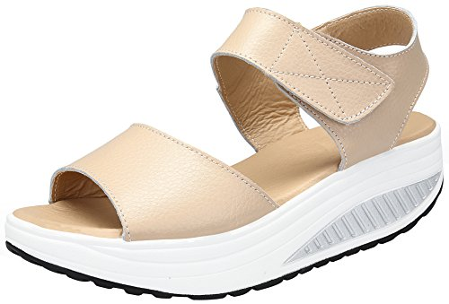 puuyfun Women's Platform Heeled Leather Comfort Peep Toe Walking Wedges Sandals (7, Beige)