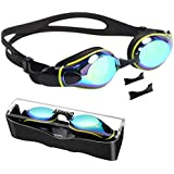 Aegend Swim Goggles, Flat Lens Swimming Goggles with 3 Adjustable Nose Pieces, No Leaking Anti-Fog UV Protection Swim…