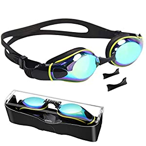 Well-Being-Matters 41mYPrFAn1L._SS300_ Aegend Swim Goggles with 3 Adjustable Nose Pieces, Flat Lens Swimming Goggles