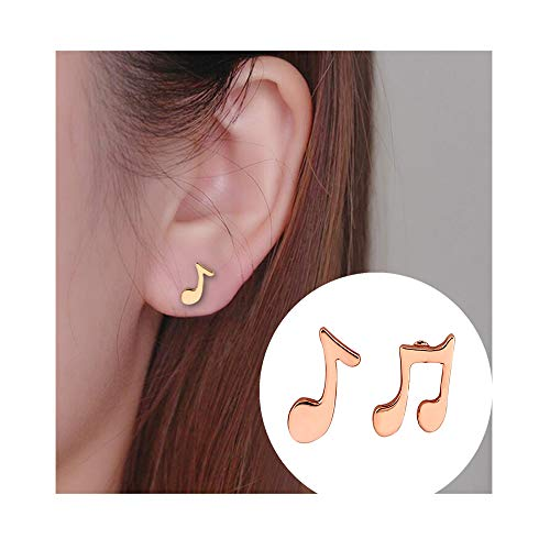 Dwcly Three Tone Tiny Charm Music Note Symbol Stud Earring Fashion Ear Jewelry for Music Lover Musician (rose ()