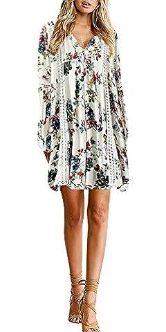 YOMISOY Women Print Floral Lace Hollow Deep V Neck Flare Sleeve Mini Summer Outfits Dress (Medium, - Flare Mini Dress