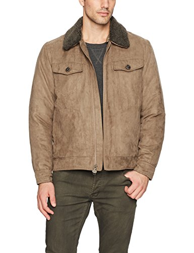 Rainforest Men's Gilpin Microsuede Trucker Jacket with Integrated Heat System, Wheat, Small