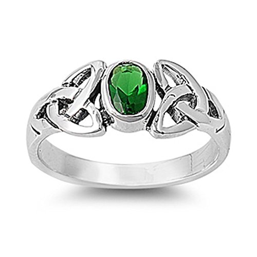 Solitaire Twisted Knot Celtic Wedding Ring Oval Shape Cut Simulated Green Emerald 925 Sterling Silver