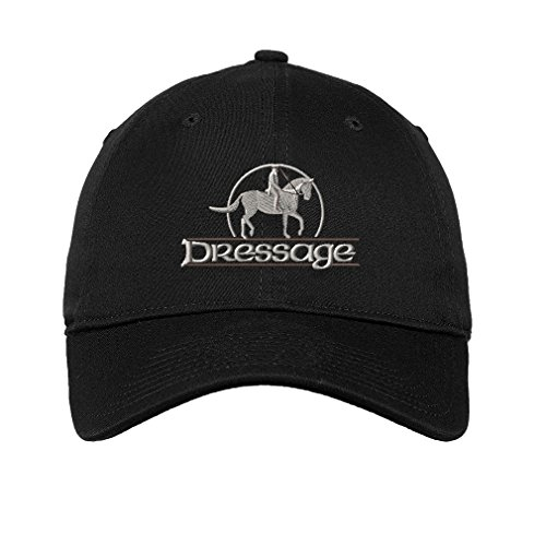 8bc76f426e8 Speedy Pros Dressage Embroidered Unisex Adult Flat Solid Buckle Cotton  Unstructured Hat Low Profile Cap - Black