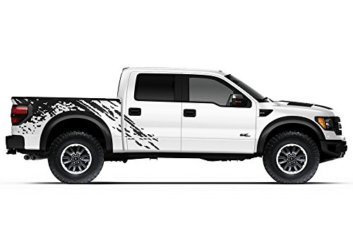 Factory Crafts Ford Raptor 2010-2014 Standard Bed Splash Graphics Kit 3M Vinyl Decal Wrap - Matte Black ()