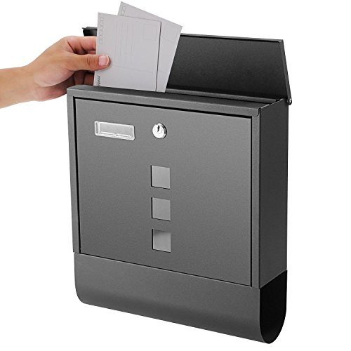 Office Post Box Door (Creine Wall Mount Lockable Mailbox, Modern Vertical Locking Postbox Letter Box Drop Box with Retrieval Door & Newspaper Roll for Home Office, Stainless Steel, Black (US Stock))