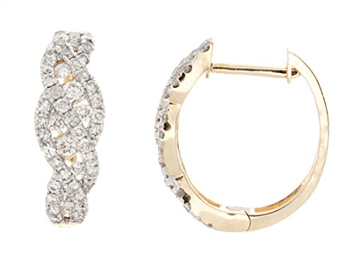 Twisted Hoop Earring with Latch Back in 14K Yellow Gold 0.89 Carat Round Cut Natural Diamond by Zacks Fine Jewelry