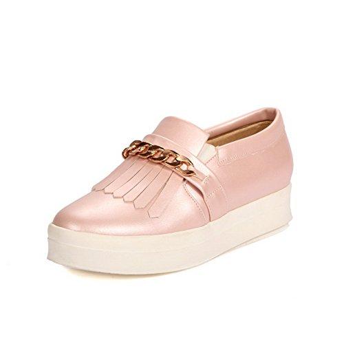 Amoonyfashion Femmes Chaton Talons Solides Tirer Sur Les Chaussures Bout Rond Fermé-chaussures Rose