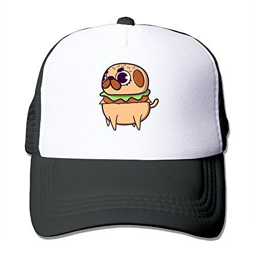 [Lihed PUG BURGER Trucker Caps Hip Hop Mesh Back Hat Black] (Tumblr Pugs In Costumes)