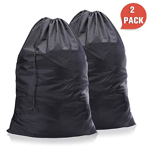 (WEHE Laundry-Bag-Nylon-Drawstring-Washable Bags, 2 Pack Waterproof Ripstop Laundry Bag Portable Drawstring Closure, Enough Storage Fit All Clothes,Home Laundry Washable Black Bag (New Black))