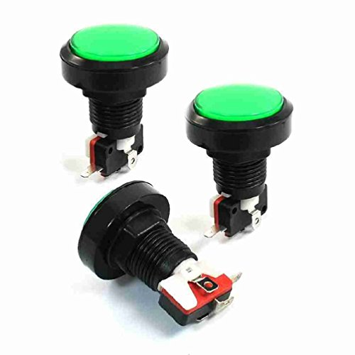 Magentoo(TM) 3 Pcs Panel Mount Green Lamp SPST 4P Momentary Game Button Switch