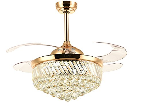 Siljoy Dimmable LED Ceiling Fans with Lights Retractable Blades Invisible Crystal Chandelier Fans Gold 36