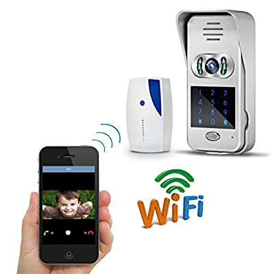 Esun WiFi Waterproof HD Camera Wireless Video Doorbell with Door Bell Chime, Two Way Audio, Real-time Push APP Video, Remote Unlock by APP