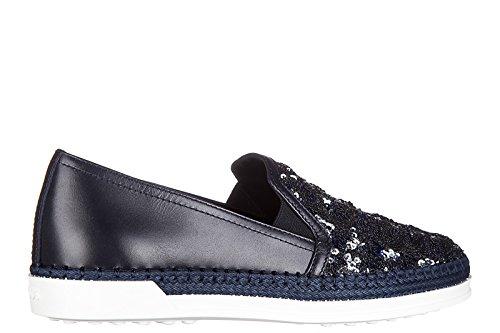 Tods Femmes Slip En Daim Sur Sneakers Caoutchouc Rafia Pantofola Blu