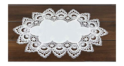 White European Lace and Antique Jacquard Fabric Peacock Tail Lace Place mat, Doily, End Table Cover 13W x 20L Approx (Table Cloth End Cover)