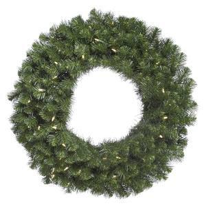 Vickerman Pre-Lit Douglas Fir Wreath with 100 Warm White Italian LED Lights, 36-Inch, Green